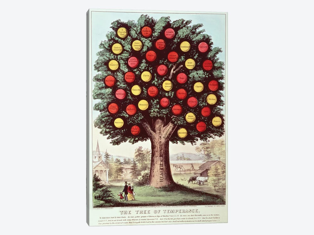 The Tree Of Temperance, 1872 by Currier & Ives 1-piece Art Print