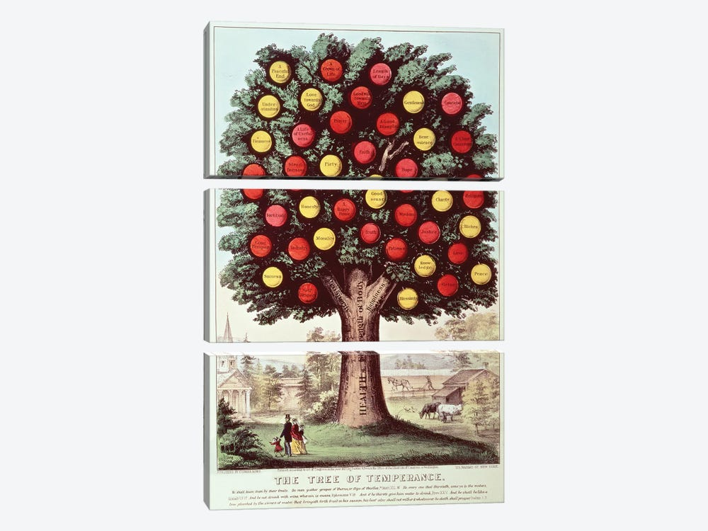 The Tree Of Temperance, 1872 by Currier & Ives 3-piece Canvas Print