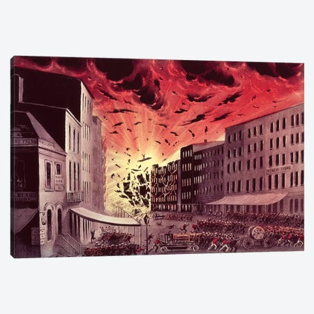 View Of The Terrific Explosion At The Great Fire In New York, 19th July, 1845 Canvas Print #BMN6938} by Currier & Ives Canvas Print