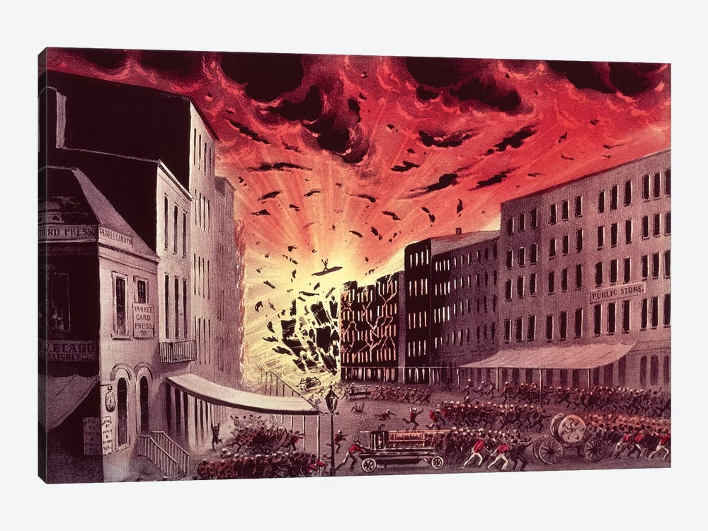 View Of The Terrific Explosion At The Great Fire In New York, 19th July, 1845 by Currier & Ives 1-piece Canvas Art