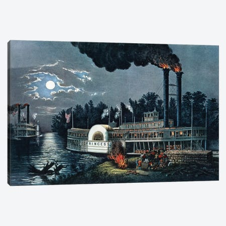 Wooding Up On The Mississippi Canvas Print #BMN6939} by Currier & Ives Canvas Print