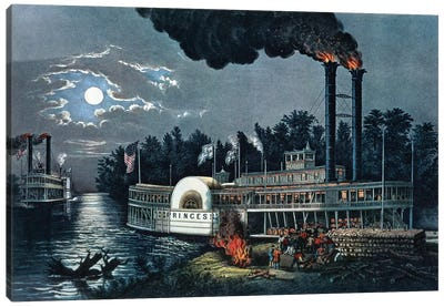 Wooding Up On The Mississippi Canvas Art Print
