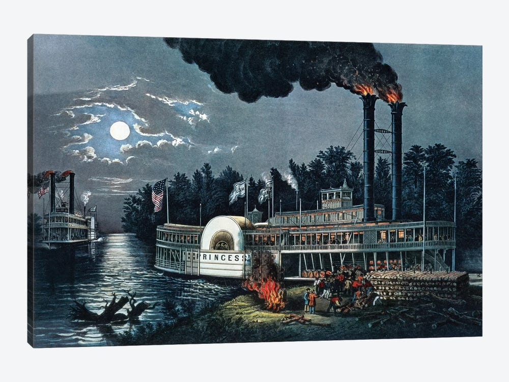 Wooding Up On The Mississippi by Currier & Ives 1-piece Canvas Art Print