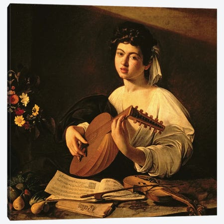 The Lute Player, c.1595  Canvas Print #BMN693} by Michelangelo Merisi da Caravaggio Art Print