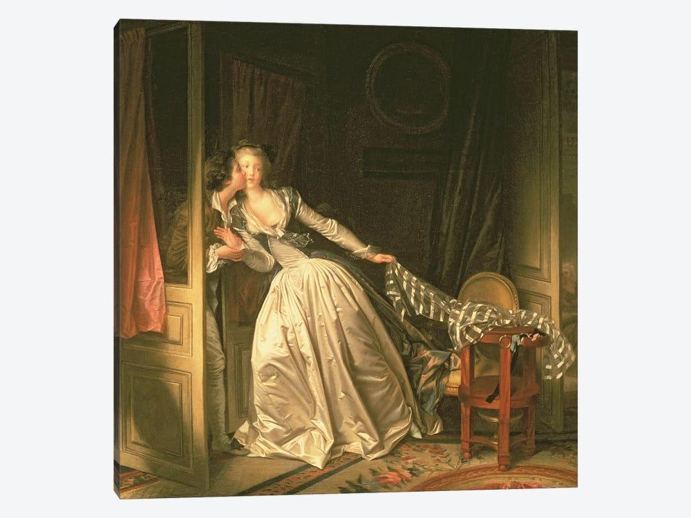 The Stolen Kiss, c.1788 by Jean-Honore Fragonard 1-piece Canvas Artwork