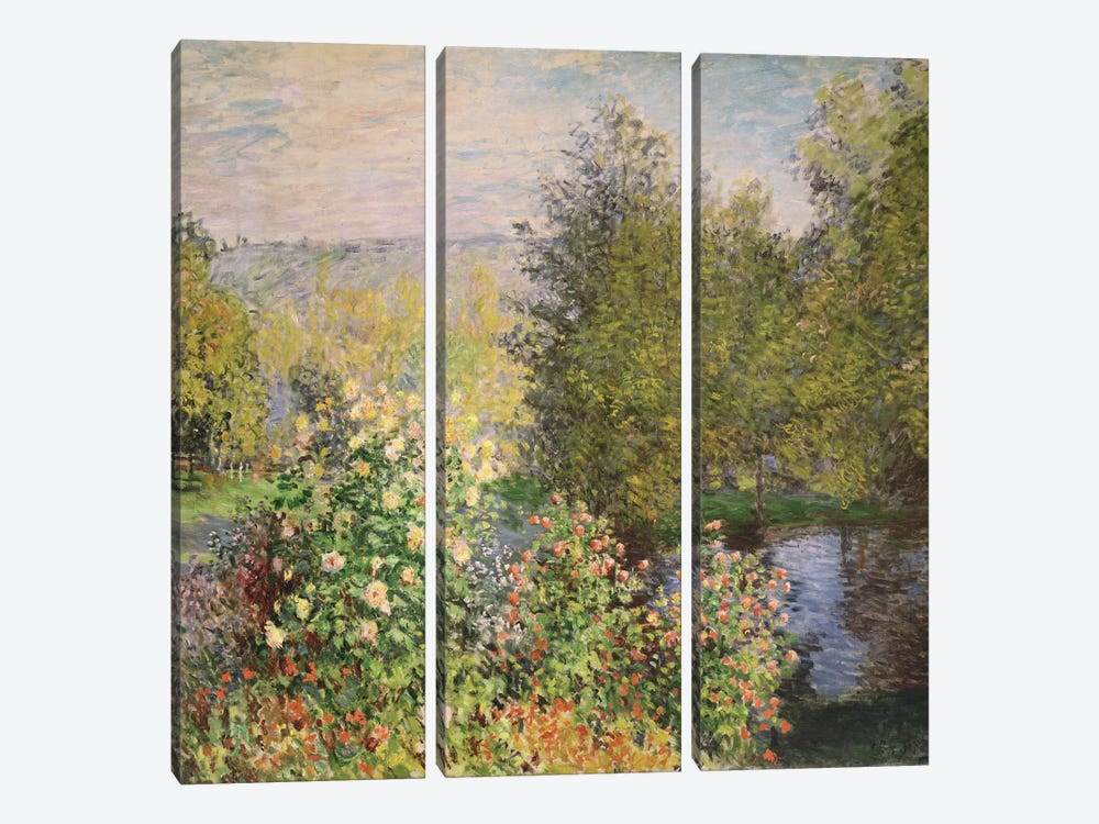 A Corner of the Garden at Montgeron, 1876-7  by Claude Monet 3-piece Canvas Art Print