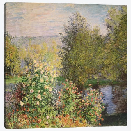 A Corner of the Garden at Montgeron, 1876-7  Canvas Print #BMN695} by Claude Monet Canvas Art