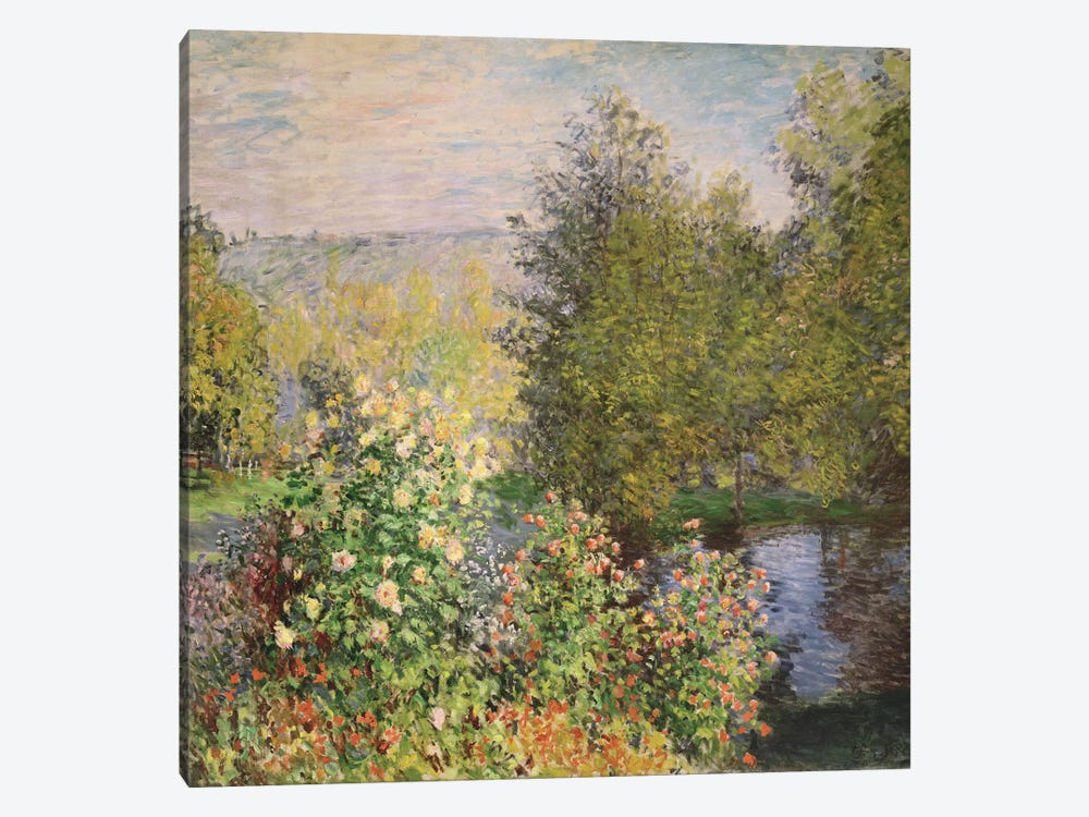 A Corner of the Garden at Montgeron, 1876-7  by Claude Monet 1-piece Canvas Print
