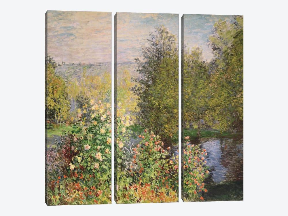 A Corner of the Garden at Montgeron, 1876-7  by Claude Monet 3-piece Canvas Art Print