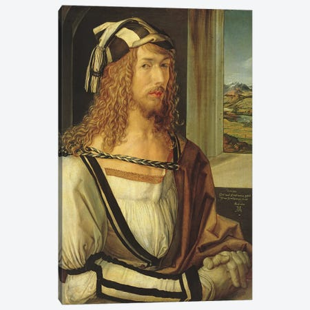 Self Portrait With Gloves, 1498 Canvas Print #BMN6974} by Albrecht Dürer Canvas Artwork