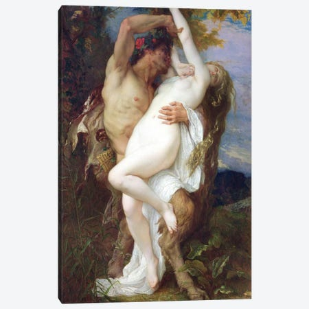 Nymph Abducted By A Faun, 1860 Canvas Print #BMN6975} by Alexandre Cabanel Canvas Wall Art
