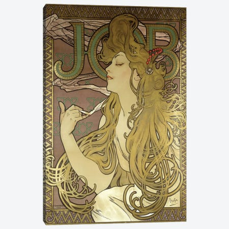 JOB Rolling Papers Advertisement, 1896 Canvas Print #BMN6976} by Alphonse Mucha Canvas Wall Art