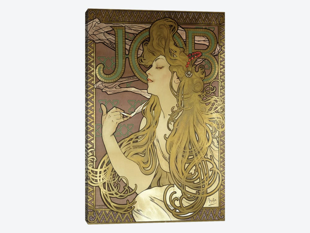 JOB Rolling Papers Advertisement, 1896 by Alphonse Mucha 1-piece Canvas Artwork