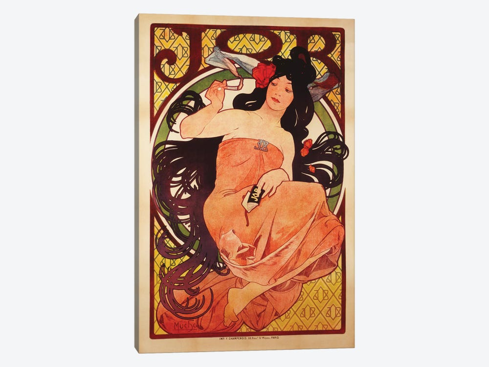 JOB Rolling Papers Advertisement, 1898 by Alphonse Mucha 1-piece Canvas Art Print