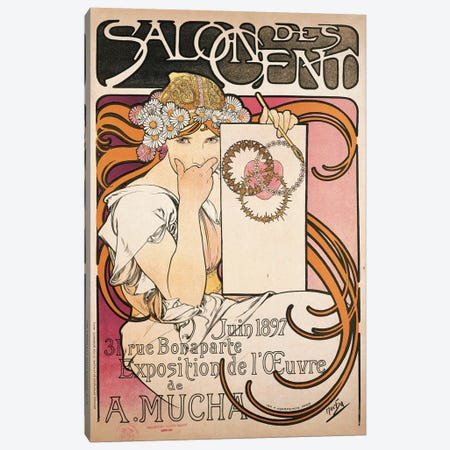 Salon des Cent June 1897 Exhibition Advertisment Canvas Print #BMN6979} by Alphonse Mucha Canvas Print
