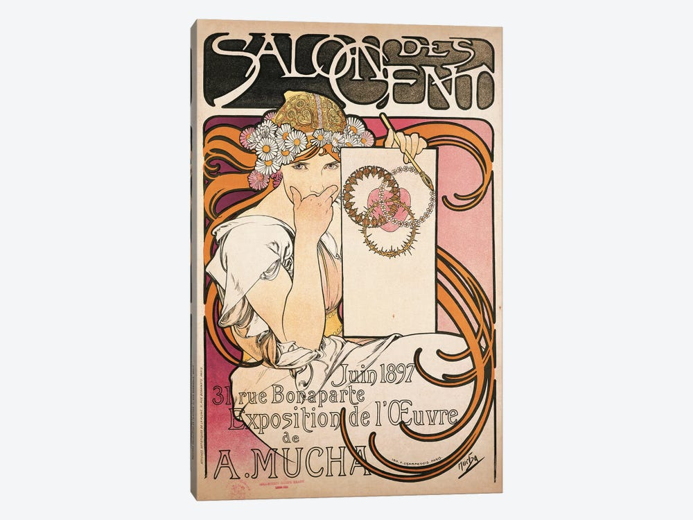 Salon des Cent June 1897 Exhibition Advertisment by Alphonse Mucha 1-piece Canvas Art Print