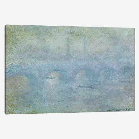 Waterloo Bridge: Effect of the Mist, 1903 Canvas Print #BMN697} by Claude Monet Canvas Artwork