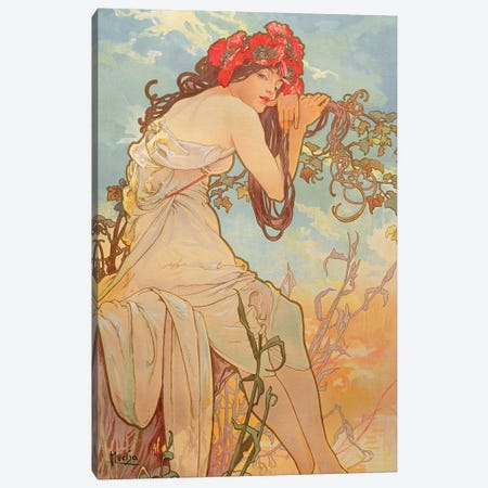 The Seasons: Summer, 1896 Canvas Print #BMN6981} by Alphonse Mucha Canvas Wall Art