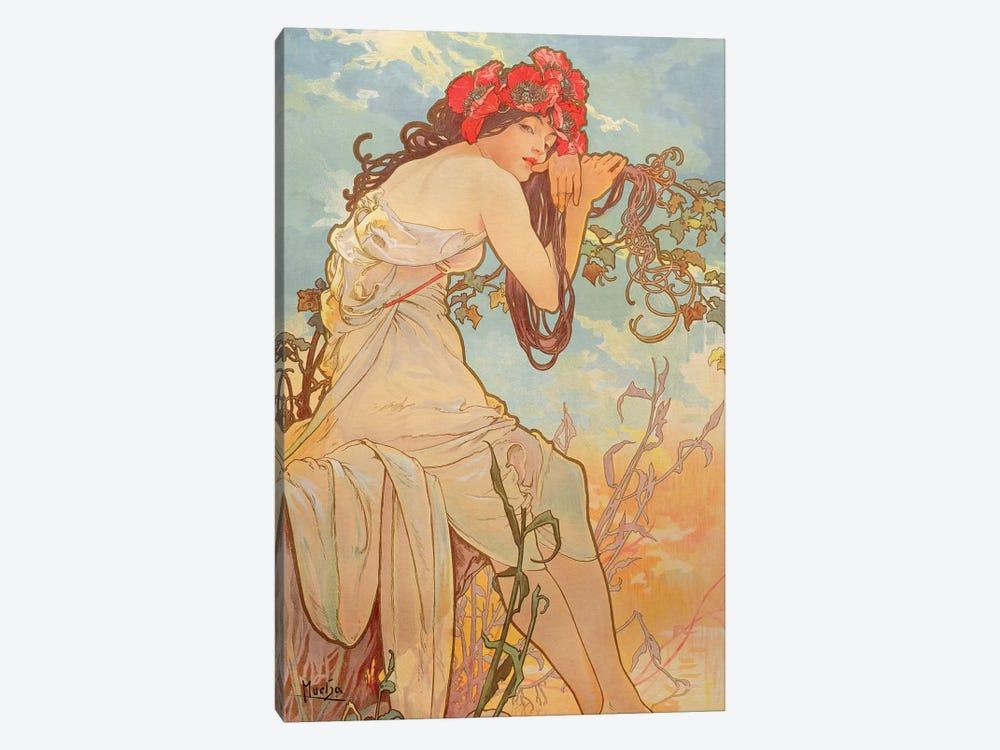 Carnation by Alphonse Mucha Giclee Fine Art Print Repro on Canvas