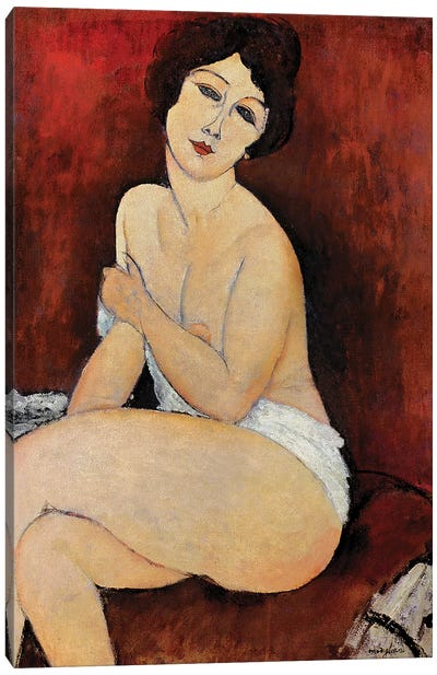 Large Seated Nude Canvas Art Print
