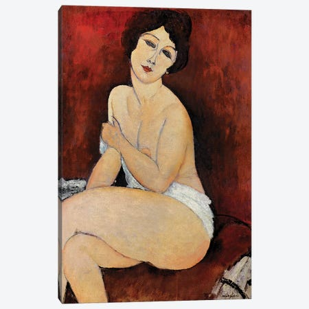 Large Seated Nude Canvas Print #BMN6983} by Amedeo Modigliani Canvas Art