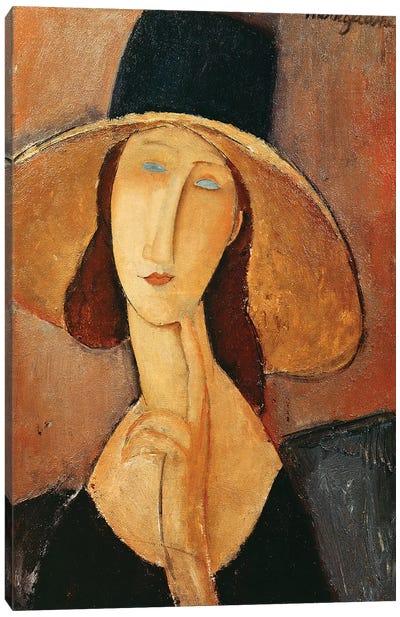 Portrait Of Jeanne Hebuterne In A Large Hat, c.1918-19 Canvas Art Print