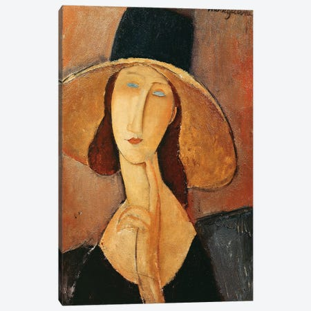 Portrait Of Jeanne Hebuterne In A Large Hat, c.1918-19 Canvas Print #BMN6984} by Amedeo Modigliani Art Print