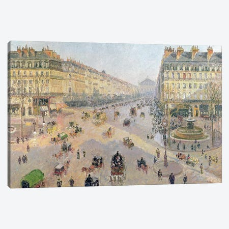 The Avenue de L'Opera, Paris, Sunlight, Winter Morning, c.1880 Canvas Print #BMN6989} by Camille Pissarro Canvas Wall Art