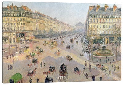 The Avenue de L'Opera, Paris, Sunlight, Winter Morning, c.1880 Canvas Art Print
