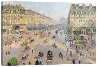 The Avenue de L'Opera, Paris, Sunlight, Winter Morning, c.1880 Canvas Art Print