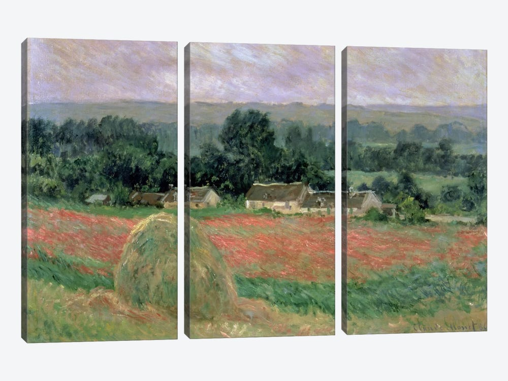 Haystack at Giverny, 1886  by Claude Monet 3-piece Canvas Art