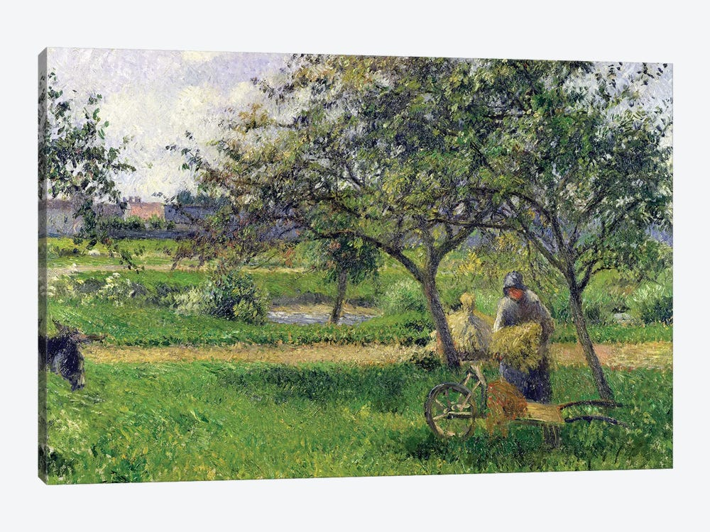 The Wheelbarrow, Orchard, c.1881 by Camille Pissarro 1-piece Canvas Artwork
