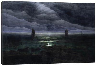 Sea Shore In Moonlight, 1835-36 Canvas Art Print