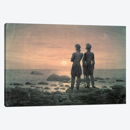 Two Men By The Sea Canvas Print #BMN6994} by Caspar David Friedrich Canvas Wall Art