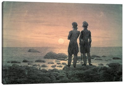 Two Men By The Sea Canvas Art Print