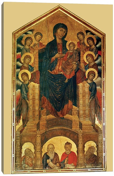 Virgin And Child Enthroned, And Prophets (Santa Trinita Maestà), c.1280-85 Canvas Art Print