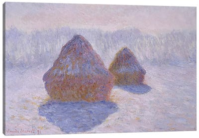 Haystacks (Effect Of Snow And Sun), 1891 Canvas Art Print