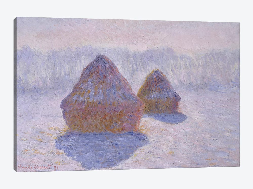 Haystacks (Effect Of Snow And Sun), 1891 by Claude Monet 1-piece Canvas Wall Art