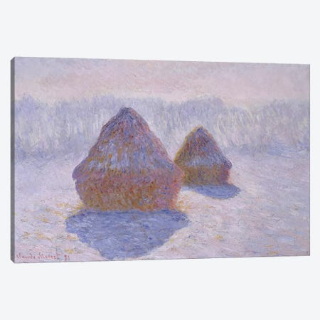 Haystacks (Effect Of Snow And Sun), 1891 Canvas Print #BMN6996} by Claude Monet Canvas Artwork