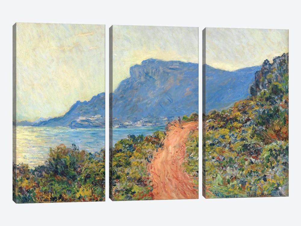 La Corniche Near Monaco, 1884 by Claude Monet 3-piece Canvas Artwork