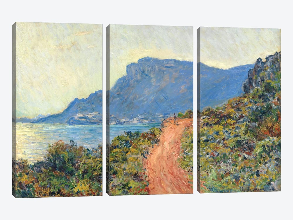 La Corniche Near Monaco, 1884 by Claude Monet 3-piece Canvas Artwork