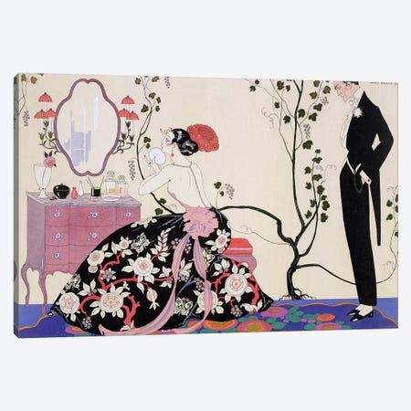 The Backless Dress, engraved by Henri Reidel, 1920 (colour litho) Canvas Print #BMN6} by George Barbier Canvas Wall Art