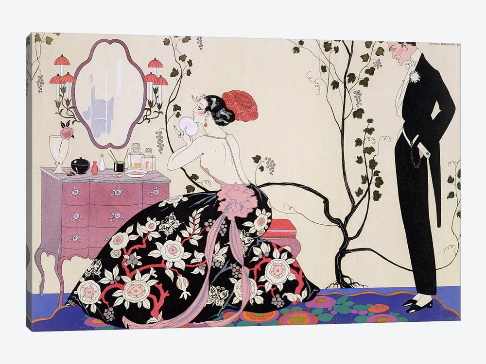 The Backless Dress, engraved by Henri Reidel, 1920 (colour litho) by George Barbier 1-piece Canvas Art