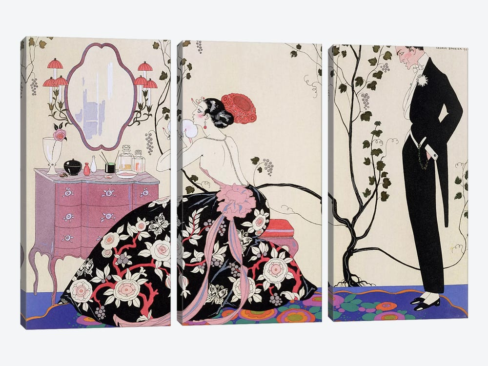 The Backless Dress, engraved by Henri Reidel, 1920 (colour litho) by George Barbier 3-piece Canvas Artwork