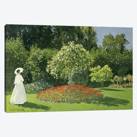 Jeanne Marie Lecadre In The Garden, 1866  Canvas Print #BMN700} by Claude Monet Canvas Print