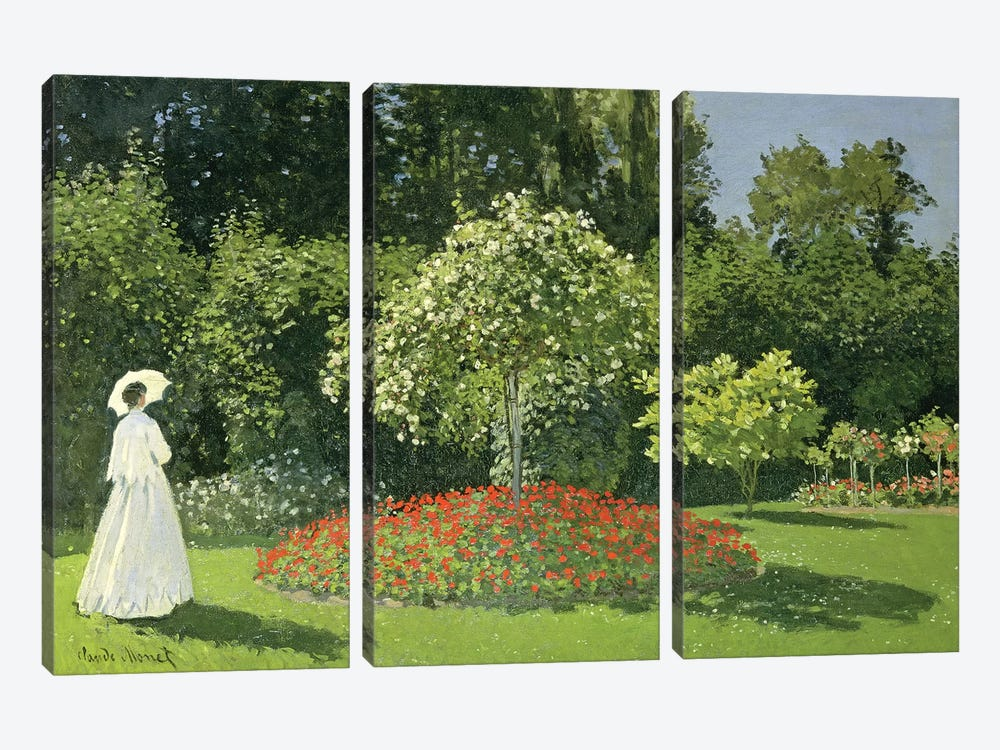 Jeanne Marie Lecadre In The Garden, 1866  by Claude Monet 3-piece Canvas Artwork
