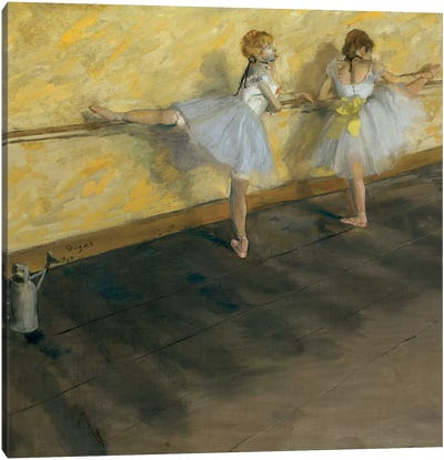 Dancers Practising At The Barre, 1877 Canvas Art Print