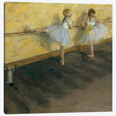 Dancers Practising At The Barre, 1877 3-Piece Canvas #BMN7012} by Edgar Degas Canvas Art Print