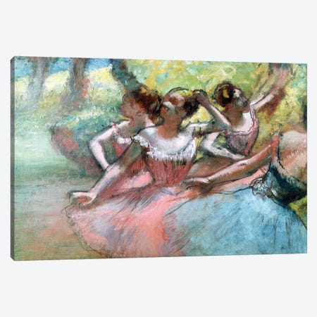 Four Ballerinas On The Stage Canvas Print #BMN7013} by Edgar Degas Canvas Print