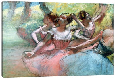 Four Ballerinas On The Stage Canvas Art Print
